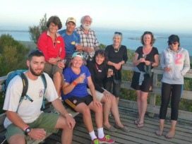 Mead family on Rangitoto. R to L, Connor Owens, Trien Steverlynck, Laura Mead, Nic Mead, Peter, Julia Mead, Rose, Katherine, Kelly Mead