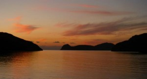 Sunset great barrier island sea kayak