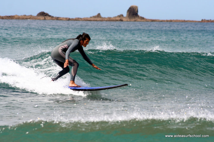 Surfing Great Barrie Island New Zealand