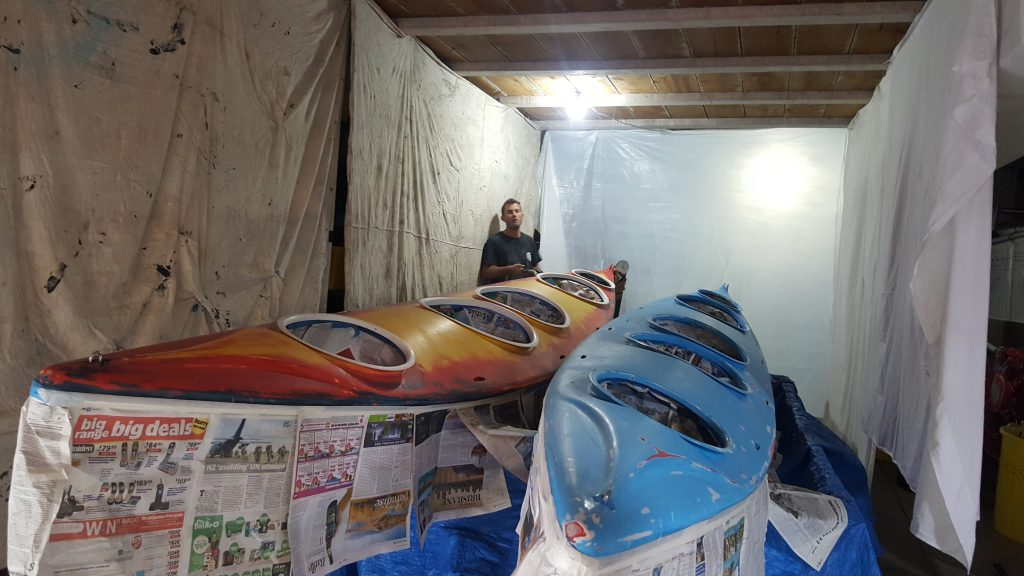 repaint a kayak and getting it ready for painting. Sea bear pack horse