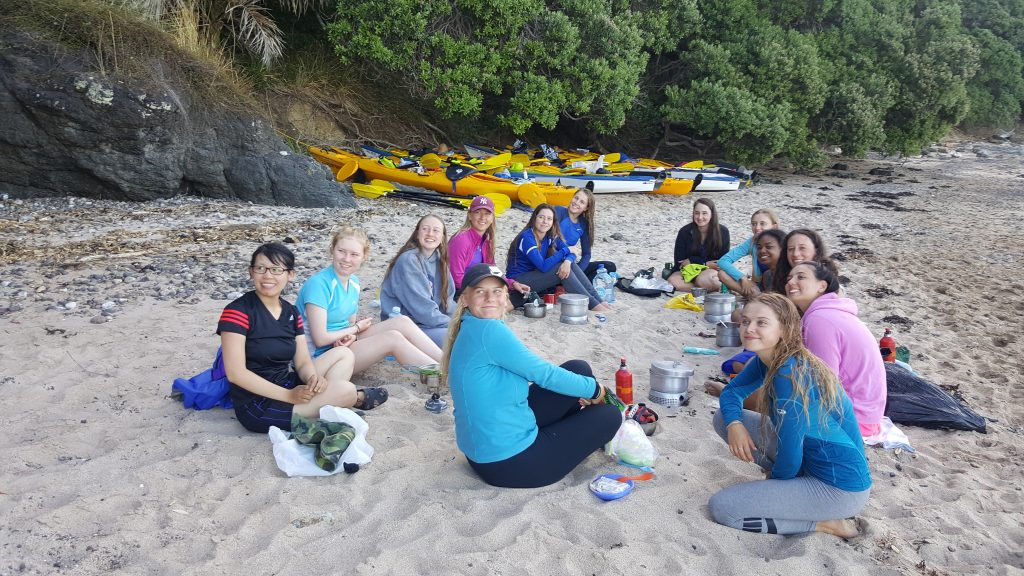 The Duke of Edinburgh Award Auckland Sea Kayaks cooking on beach