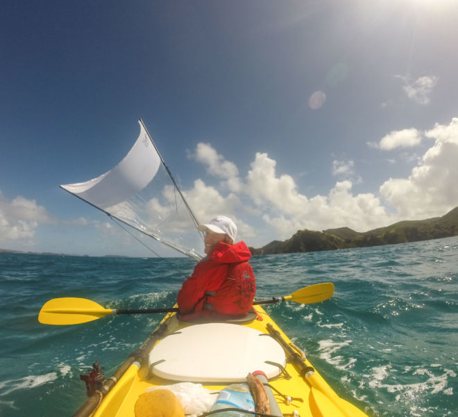 kayaking with a sail