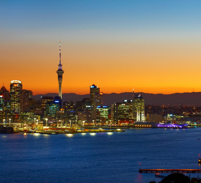 Auckland cuty at night a stunning kayak location