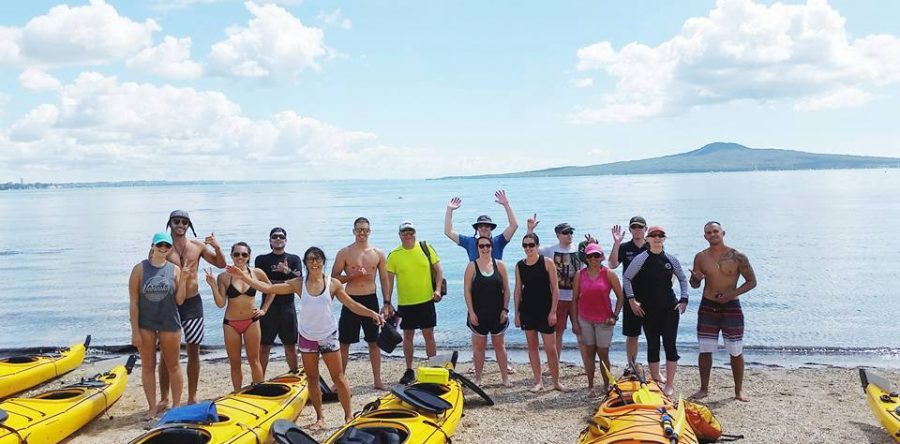 Auckland best team building with the work day warriors sea kayak