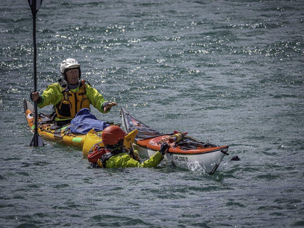 sea kayak rescue training with Auckland sea kayaks
