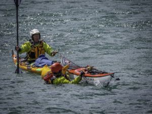 sea kayak rescue training with Auckland sea kayaks