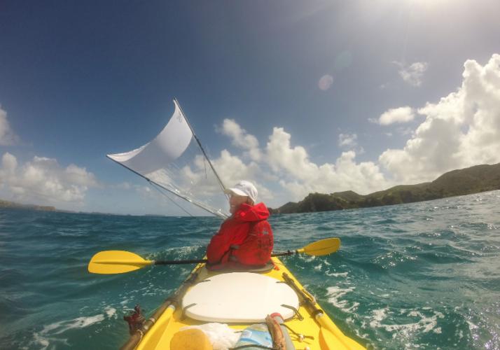 Sailing down wind kayak sailing | Nic Mead